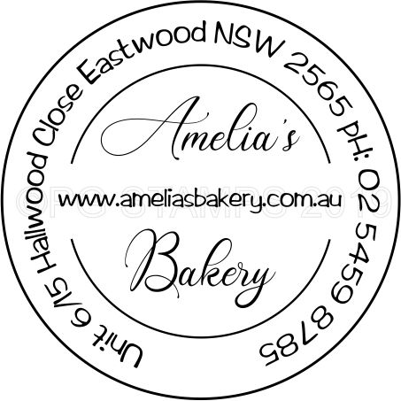 Decorative Circular Business name and address.  $47.50 incl.gst.
