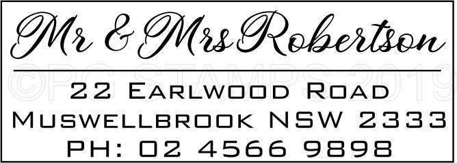 Rectangular name and address - $50.00 incl gst