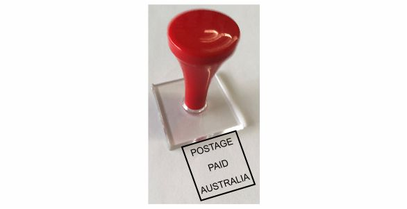 Sample A & C-Postage Paid Australia Hand Stamp $19.85 including gst-